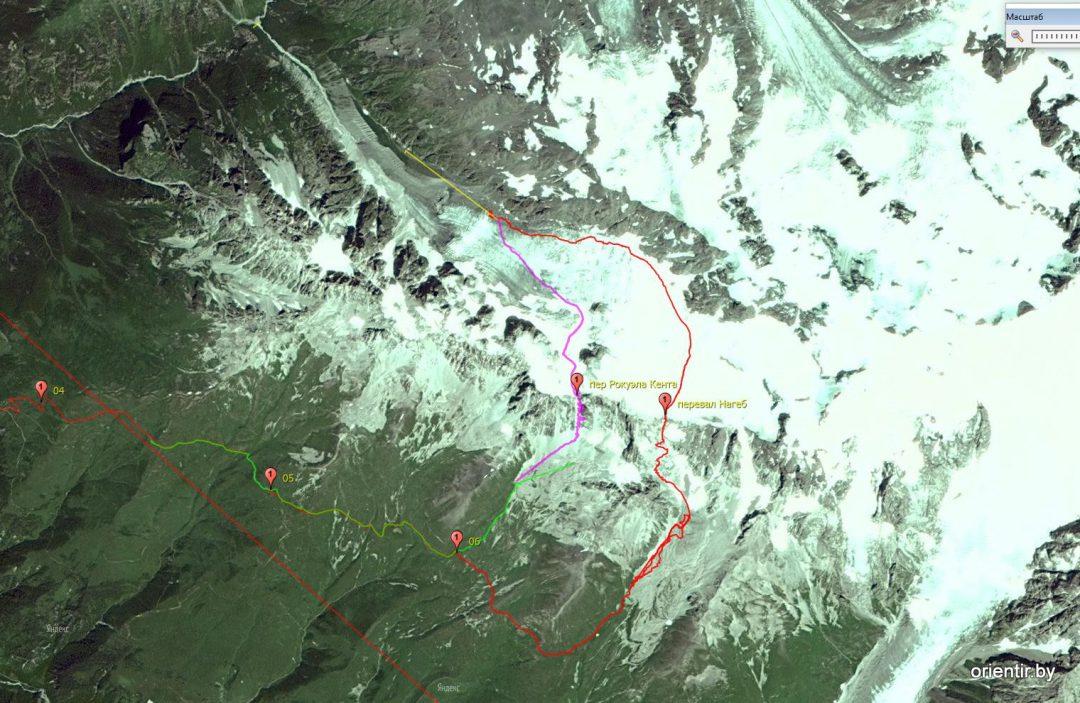 Треки прохождения перевалов Рокуэлла Кента (2016) и перевала Нагеб (2014). Тогда я считал, что мы прошли Р.Кента. Ошибался.