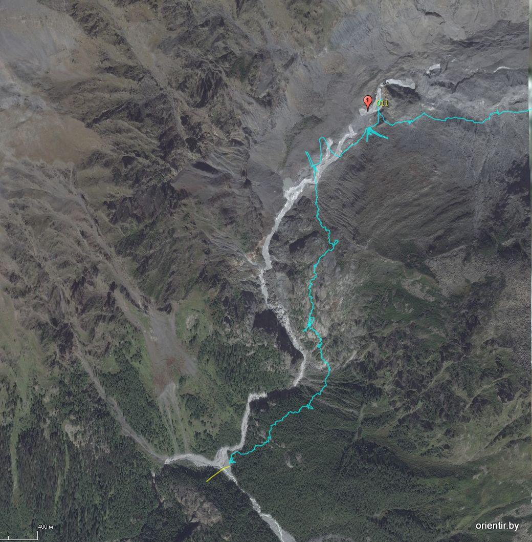 Наш трек прохождения бараньих лбов наложенный на космоснимок. Кое-где GPS терял спутники, но в целом порядок прохождения понятен.