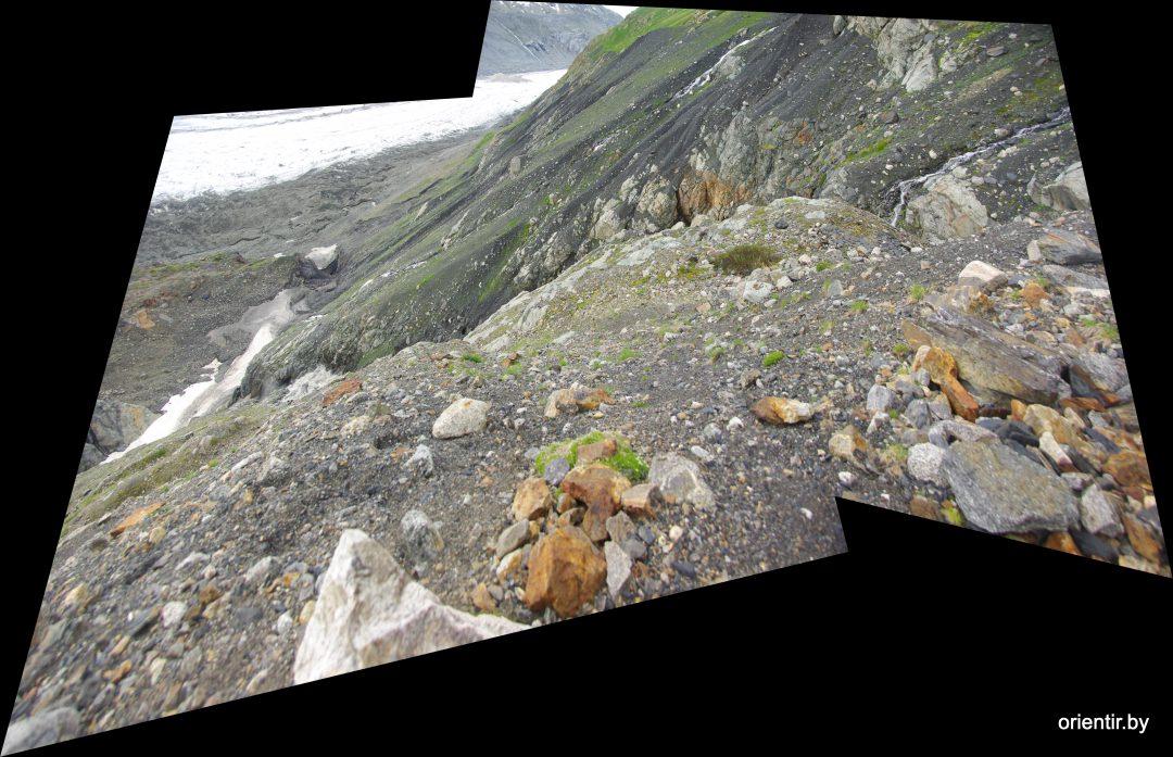 На гребне морены, вид вниз - вправо, ближайший видимый кулуар - большой водяной поток (см. ниже космоснимок)