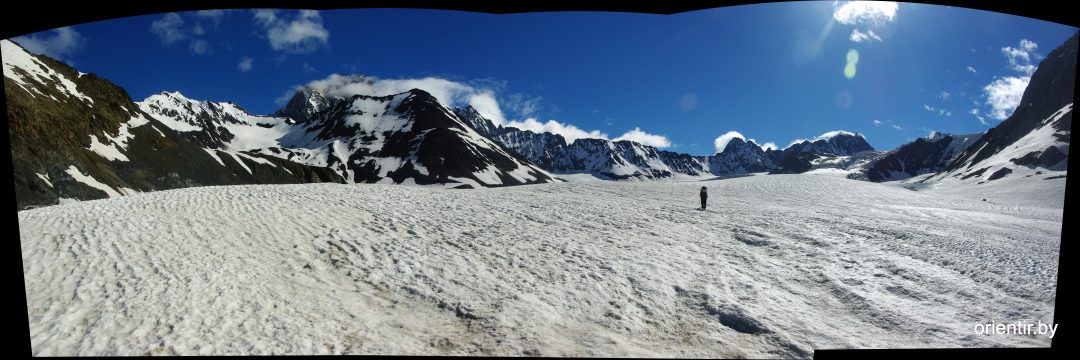 Впереди ГКХ, панорама с ледника Цаннер