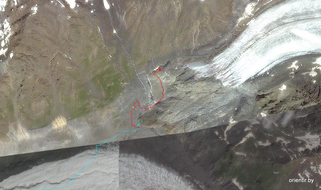 GPS-трек наложенный на космоснимок. Голубой - предыдущий день, красный - текущий